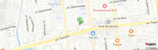 Фитнесклуб Тастак — схема проезда на карте