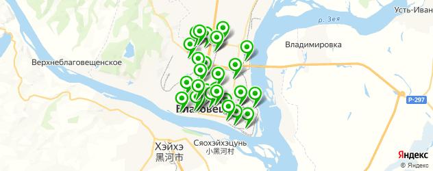 тренажерные залы на карте Благовещенска