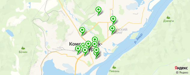 столовые на карте Комсомольска-на-Амуре