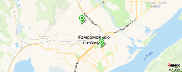 стадионы на карте Комсомольска-на-Амуре