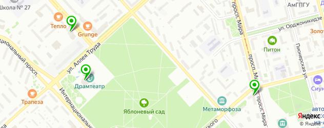 театры на карте Комсомольска-на-Амуре