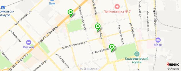 кинотеатры на карте Комсомольска-на-Амуре