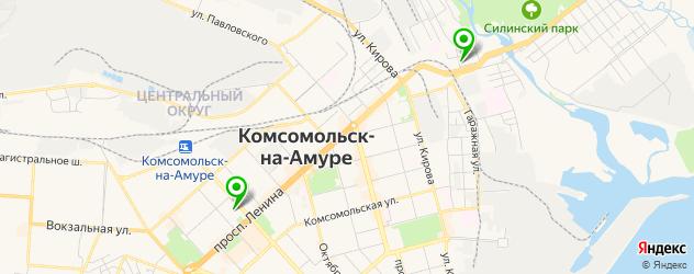 боулинги на карте Комсомольска-на-Амуре