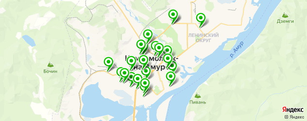 автомойки на карте Комсомольска-на-Амуре