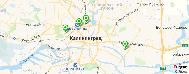 боулинги на карте Калининграда