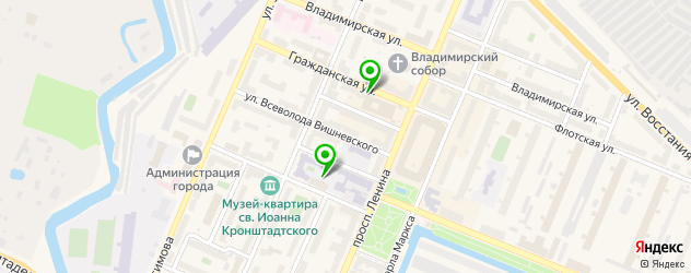 лаборатории анализов на карте Кронштадта