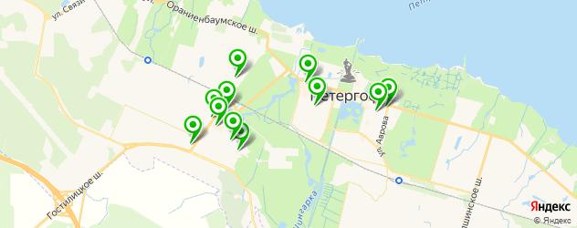 студии загара на карте Петергофа