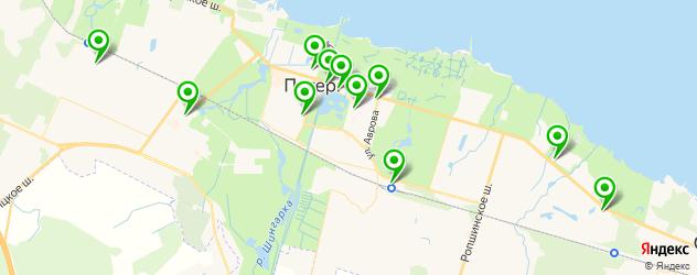 спорты-бары на карте Петергофа
