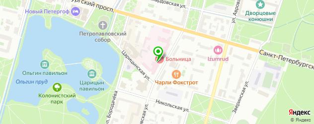 стоматологические поликлиники на карте Петергофа