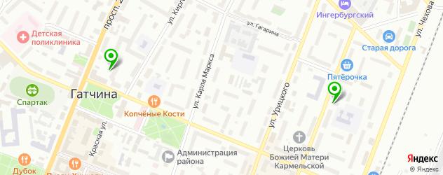 спортивные клубы на карте Гатчины