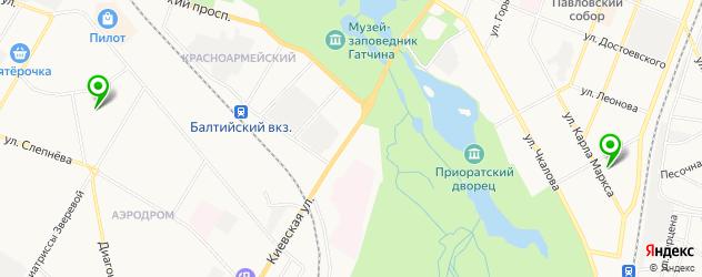 взрослые поликлиники на карте Гатчины