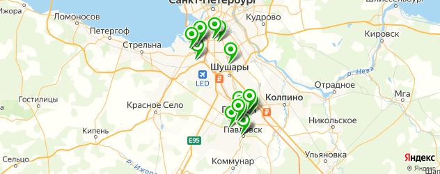фитнес-клубы на карте Пушкина