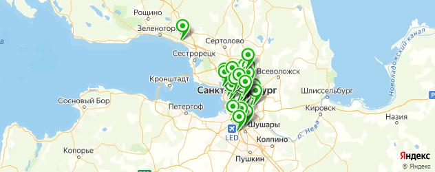 тренажерные залы на карте Санкт-Петербурга