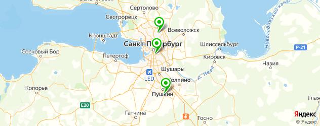 детские бассейны на карте Санкт-Петербурга