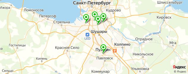 спортивные клубы на карте Пушкина