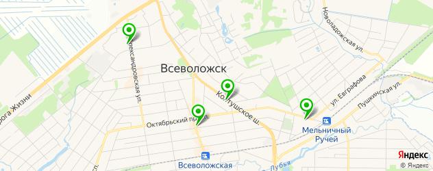 спортивные клубы на карте Всеволожска