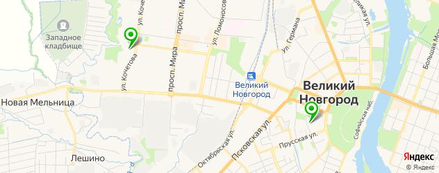 фитнесы с бассейном на карте Великого Новгорода