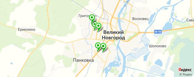 спортивные клубы на карте Великого Новгорода
