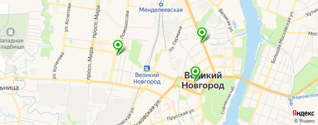 рестораны с детской комнатой на карте Великого Новгорода