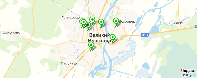химчистки на карте Великого Новгорода