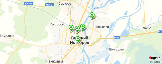 кинотеатры на карте Великого Новгорода