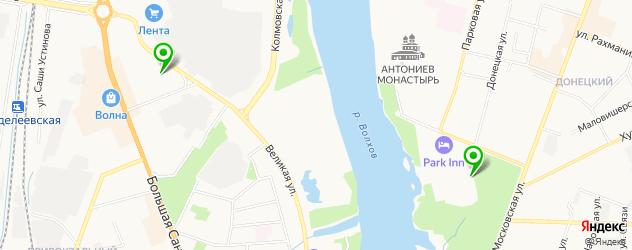 стадионы на карте Великого Новгорода