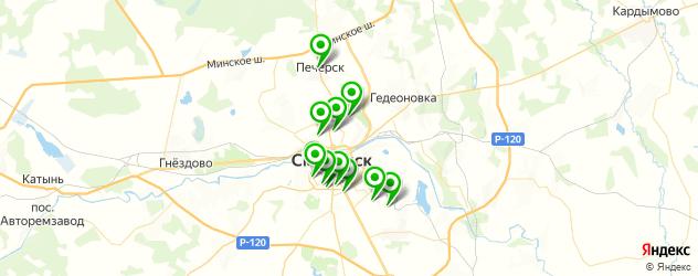 спортивные клубы на карте Смоленска