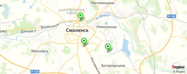 теннисные корты на карте Смоленска