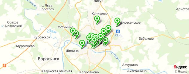 рестораны с танцполом на карте Калуги