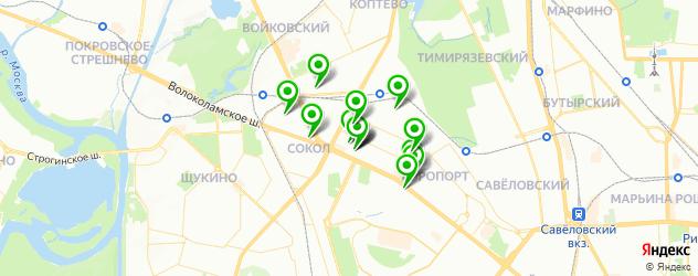 лаборатории анализов на карте метро Сокол
