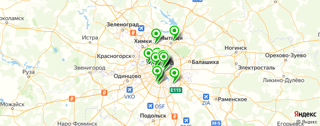 кальян на карте Москвы
