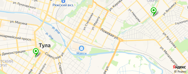 боулинги на карте Тулы