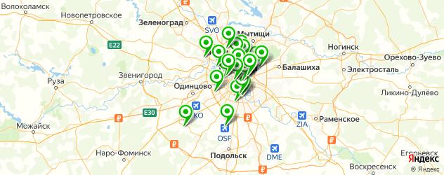 сауны с бассейном на карте Москвы