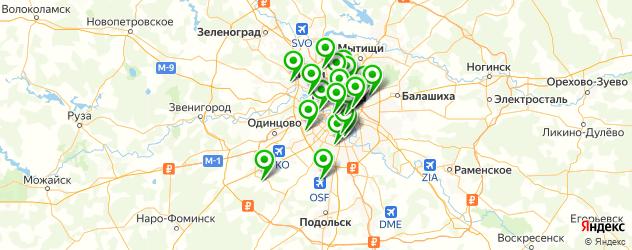 бани с бассейном на карте Москвы