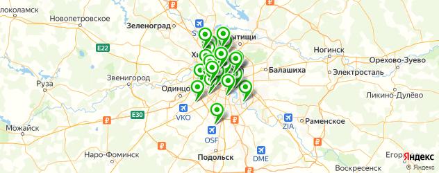 фитнесы с бассейном на карте Москвы