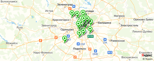 тренажерные залы на карте Москвы