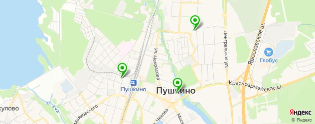 спортивные клубы на карте Пушкино
