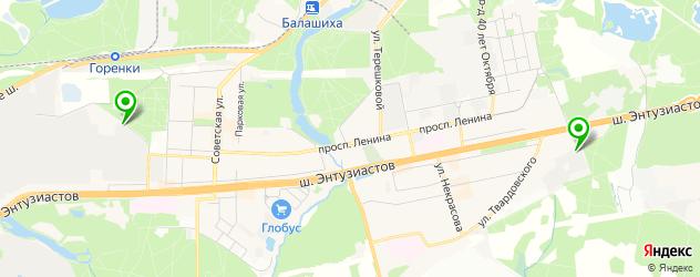 гаражи на карте Балашихи