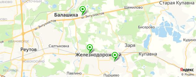 фитнесы с бассейном на карте Балашихи