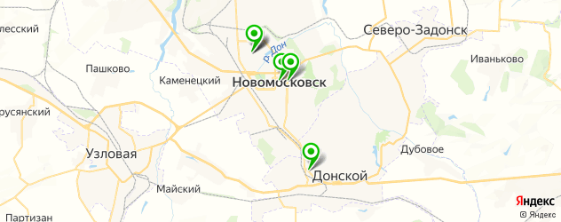 стоматологические поликлиники на карте Новомосковска