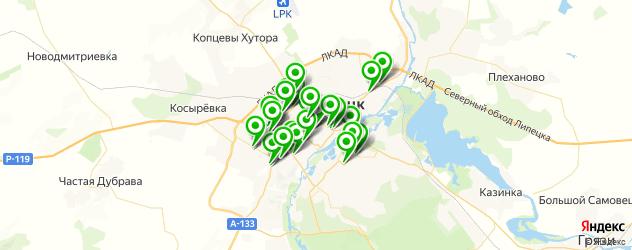 шиномонтажи на карте Липецка