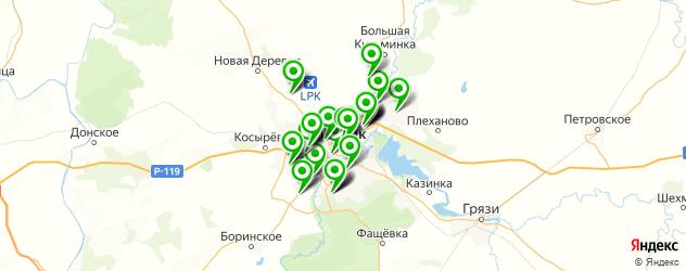 больницы на карте Липецка