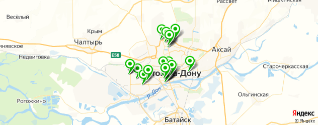 спорты-бары на карте Ростова-на-Дону