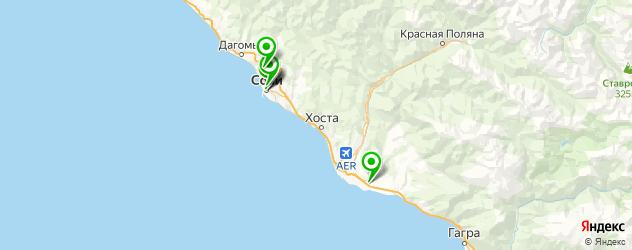 теннисные корты на карте Сочи