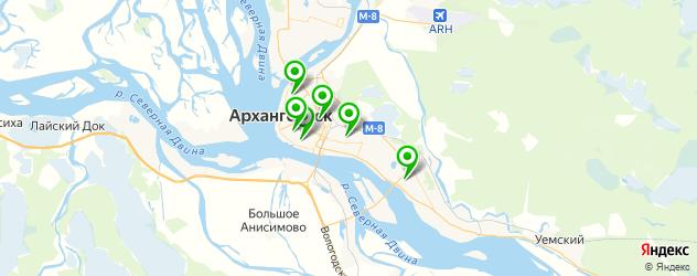 спортивные клубы на карте Архангельска