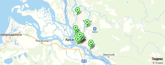 Доставка пиццы на карте Архангельска