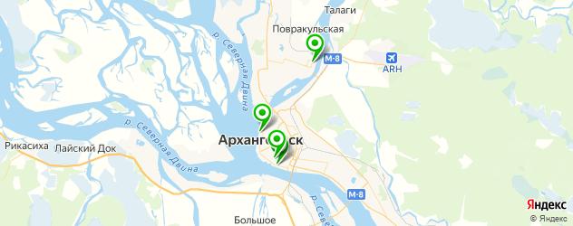 теннисные корты на карте Архангельска