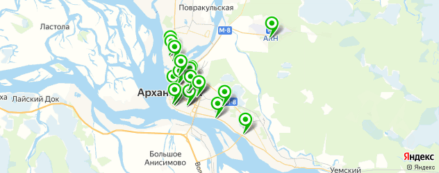 химчистки на карте Архангельска