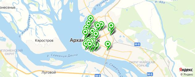 Доставка еды на карте Архангельска