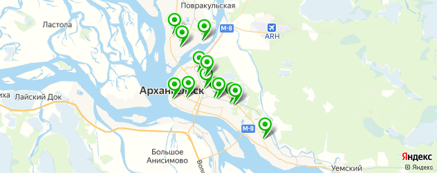 гаражи на карте Архангельска